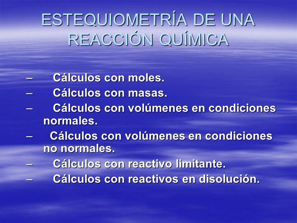 ESTEQUIOMETRÍA DE UNA REACCIÓN QUÍMICA