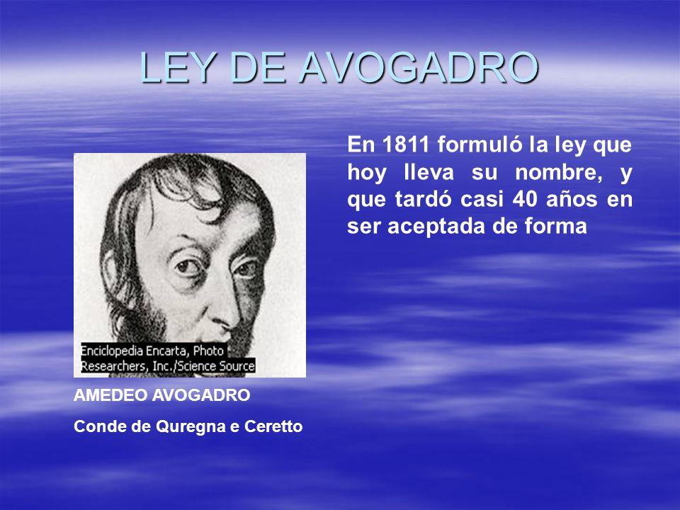 LEY DE AVOGADRO En 1811 formuló la ley que hoy lleva su nombre, y que tardó casi 40 años en ser aceptada de forma.