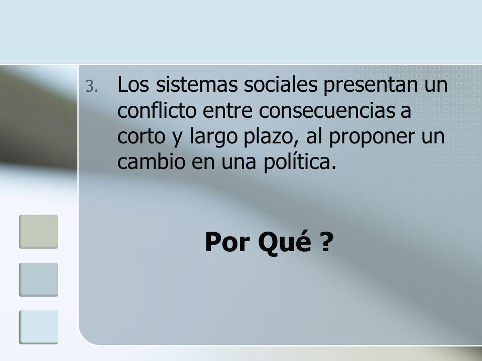 Los sistemas sociales presentan un conflicto entre consecuencias a corto y largo plazo, al proponer un cambio en una política.