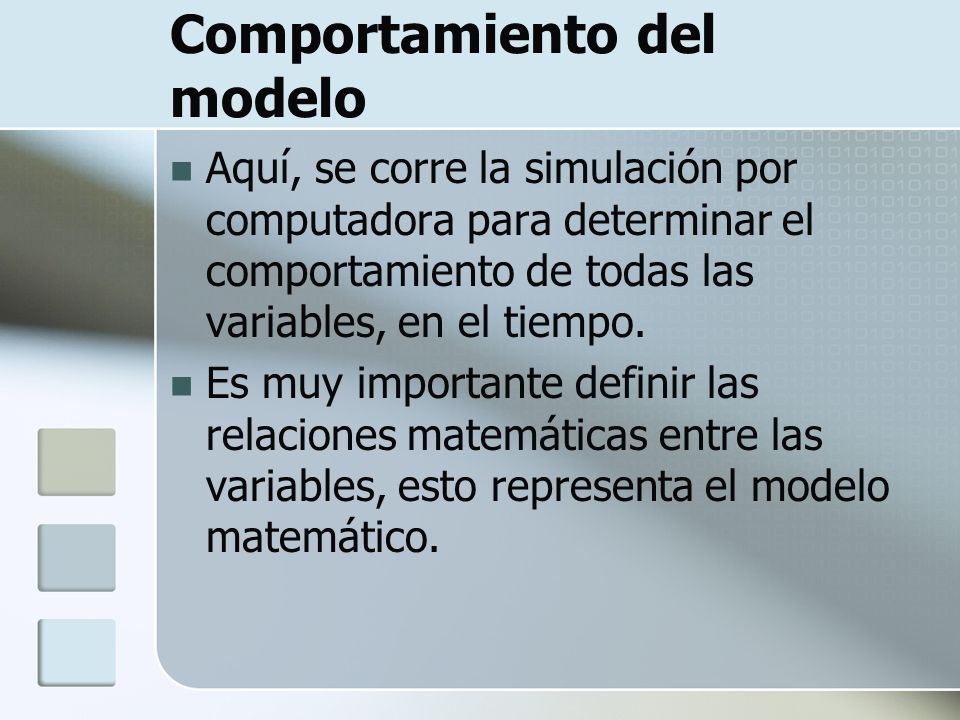 Comportamiento del modelo