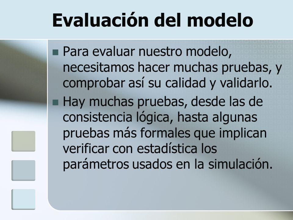 Evaluación del modelo Para evaluar nuestro modelo, necesitamos hacer muchas pruebas, y comprobar así su calidad y validarlo.