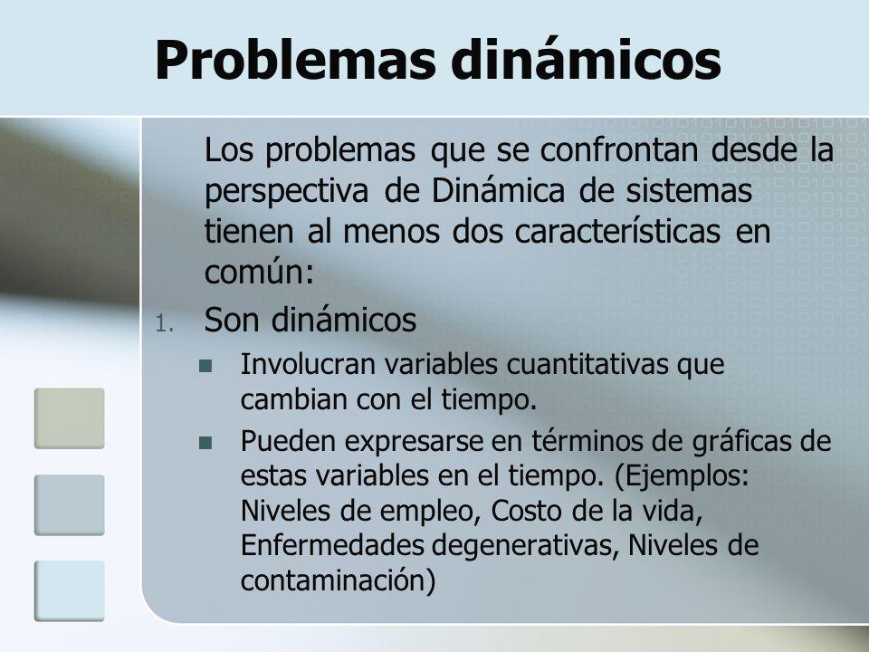 Problemas dinámicos Los problemas que se confrontan desde la perspectiva de Dinámica de sistemas tienen al menos dos características en común: