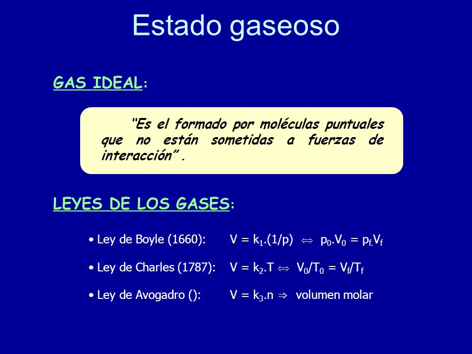 Estado gaseoso GAS IDEAL: LEYES DE LOS GASES: