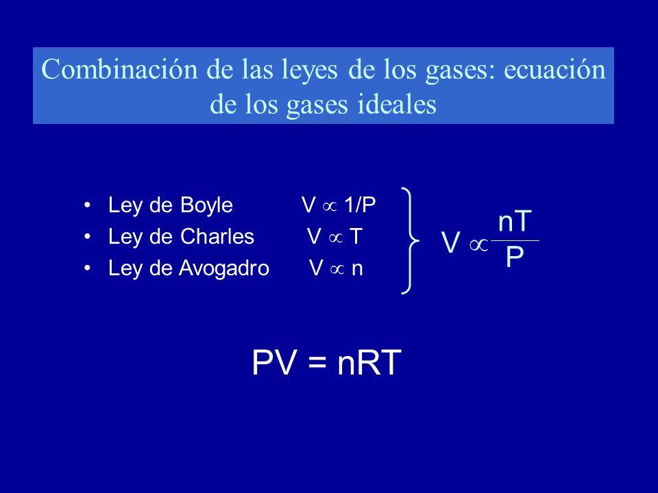 Combinación de las leyes de los gases: ecuación de los gases ideales