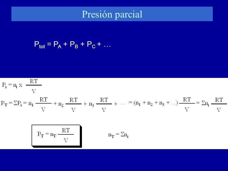 Presión parcial Ptot = PA + PB + PC + …
