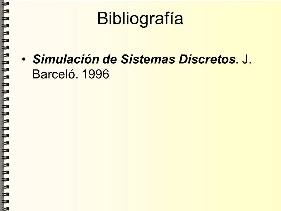 Bibliografía Simulación de Sistemas Discretos. J. Barceló. 1996