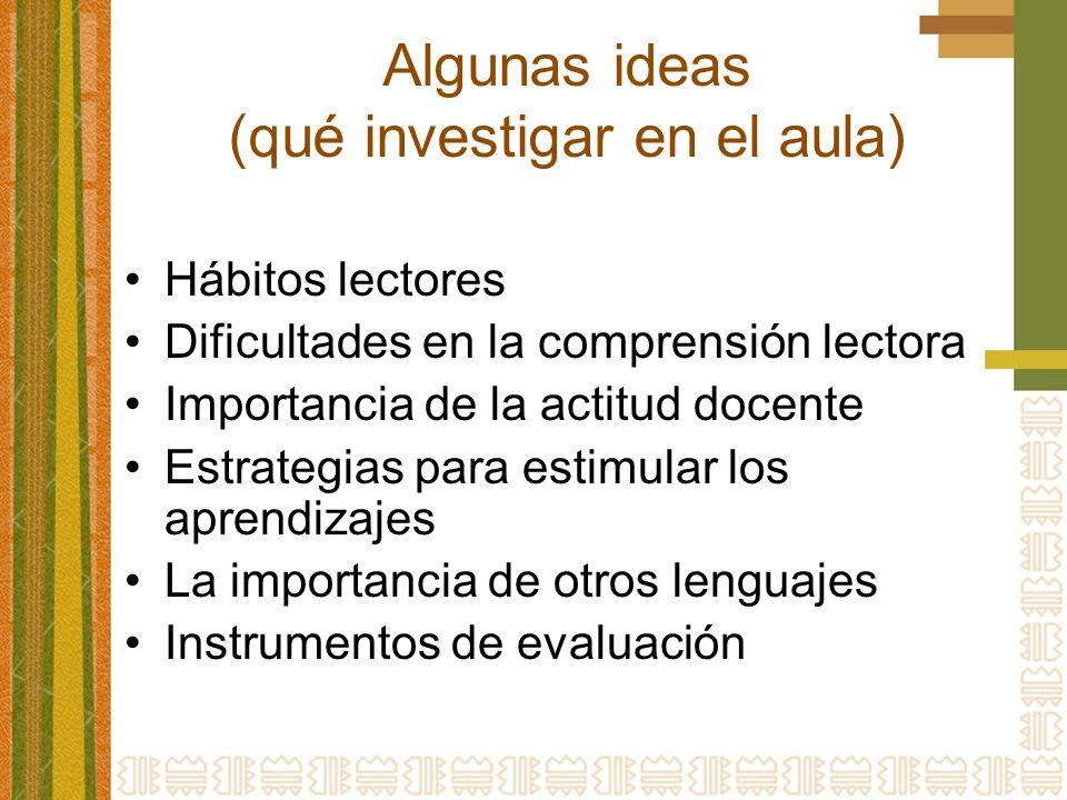 Algunas ideas (qué investigar en el aula)