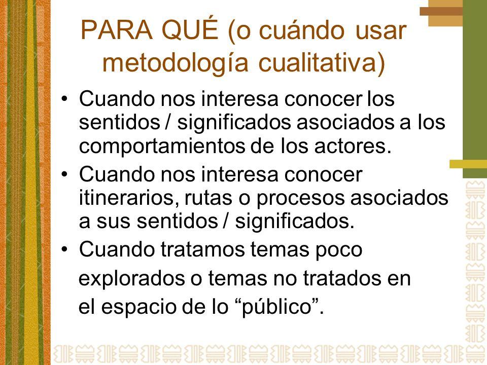 PARA QUÉ (o cuándo usar metodología cualitativa)