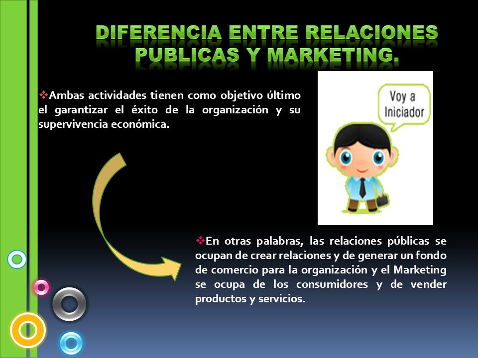 Diferencia entre relaciones publicas y marketing.