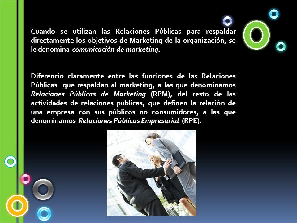 Cuando se utilizan las Relaciones Públicas para respaldar directamente los objetivos de Marketing de la organización, se le denomina comunicación de marketing.