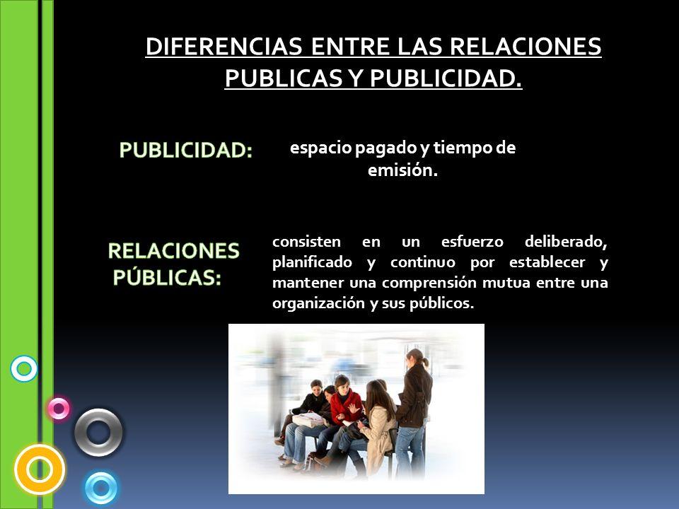 DIFERENCIAS ENTRE LAS RELACIONES PUBLICAS Y PUBLICIDAD.
