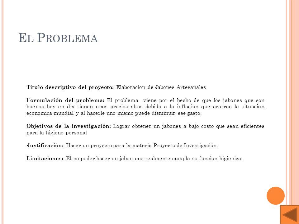 El ProblemaTítulo descriptivo del proyecto: Elaboracion de Jabones Artesanales.