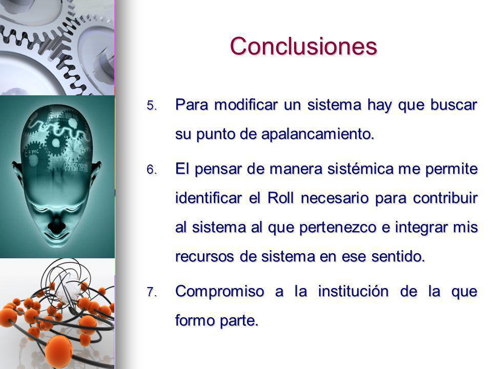 ConclusionesPara modificar un sistema hay que buscar su punto de apalancamiento.