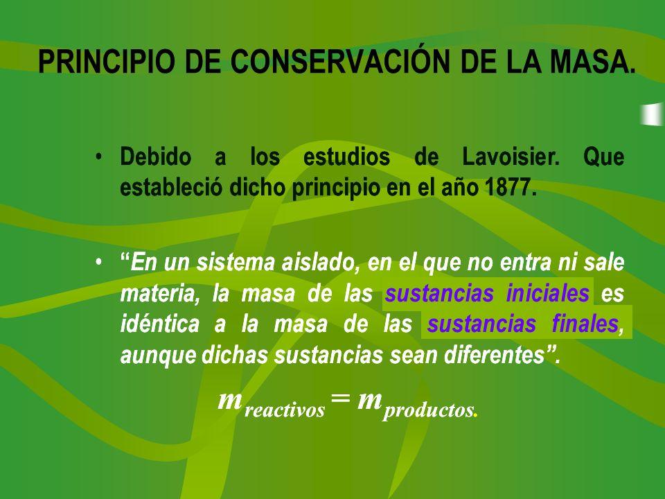 PRINCIPIO DE CONSERVACIÓN DE LA MASA.