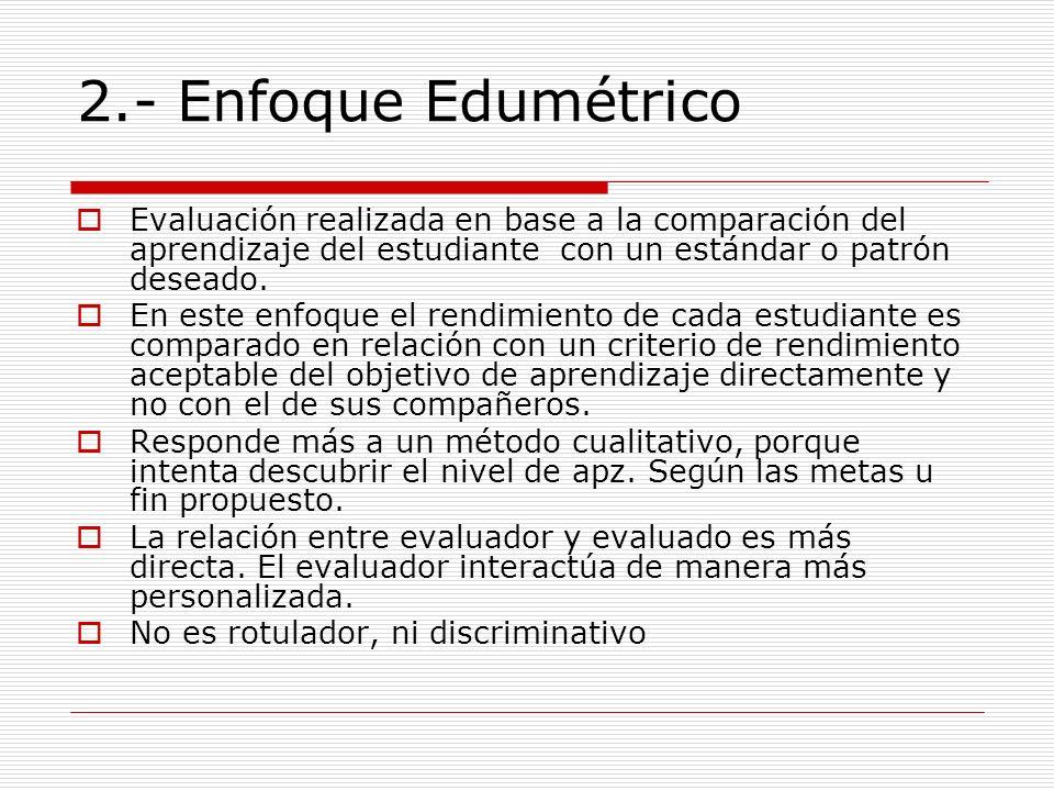 2.- Enfoque Edumétrico Evaluación realizada en base a la comparación del aprendizaje del estudiante con un estándar o patrón deseado.