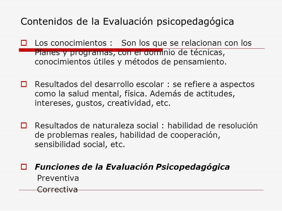 Contenidos de la Evaluación psicopedagógica