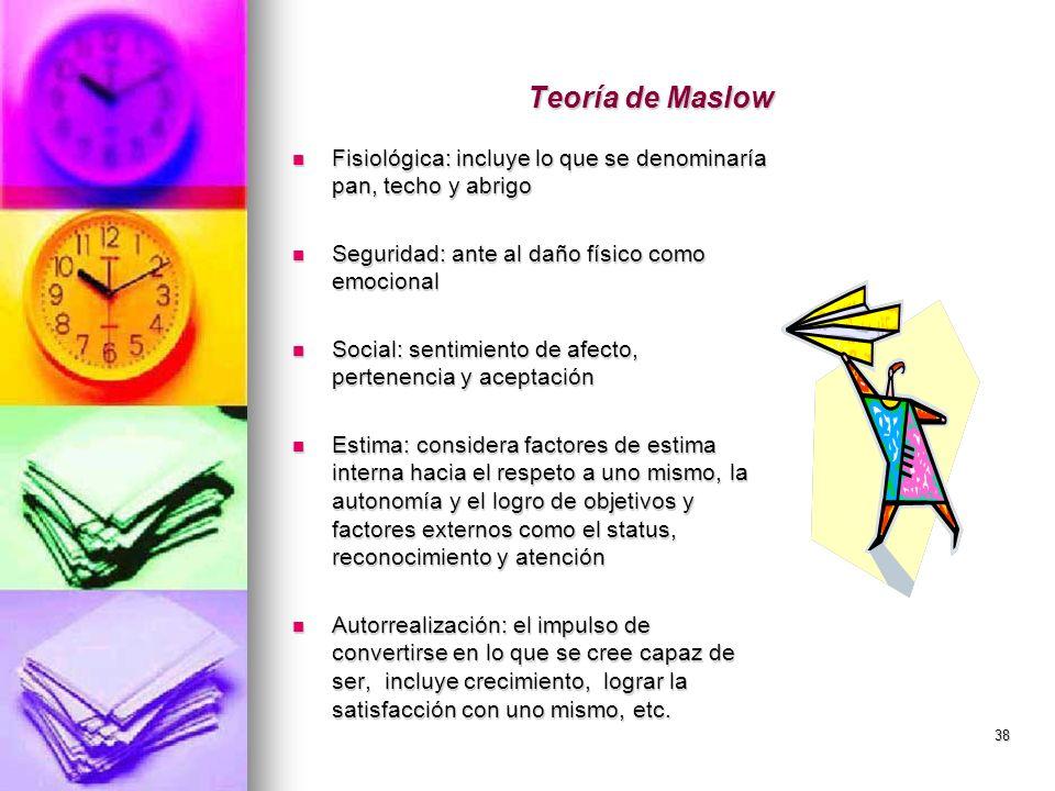 Teoría de Maslow Fisiológica: incluye lo que se denominaría pan, techo y abrigo. Seguridad: ante al daño físico como emocional.