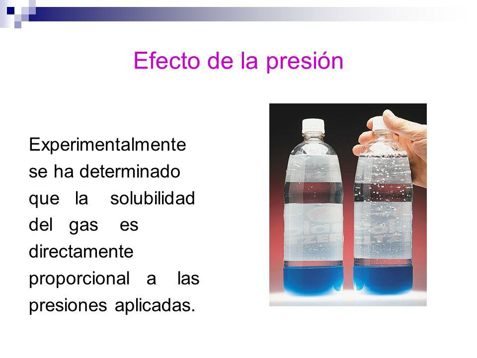 Efecto de la presión Experimentalmente se ha determinado