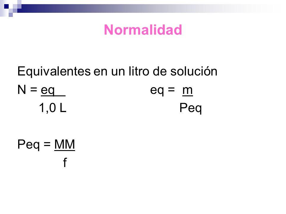 Normalidad Equivalentes en un litro de solución N = eq eq = m