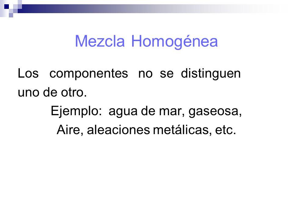 Mezcla Homogénea Los componentes no se distinguen uno de otro.