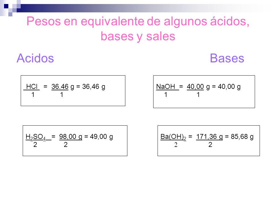 Pesos en equivalente de algunos ácidos, bases y sales