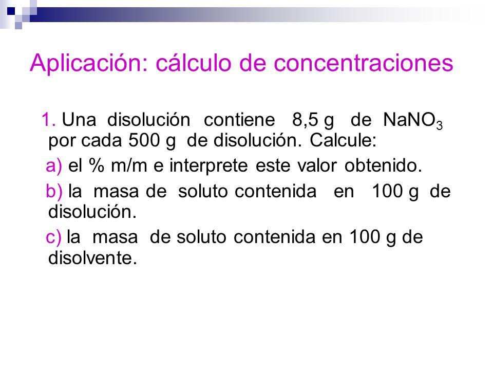 Aplicación: cálculo de concentraciones