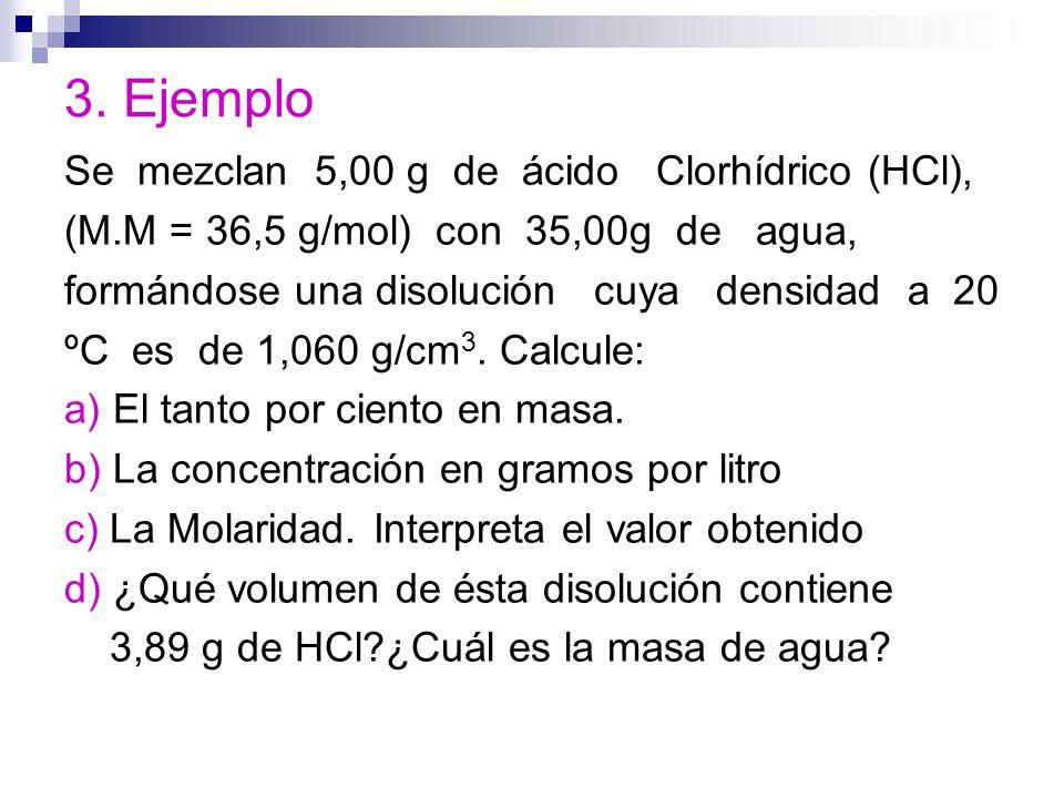 3. Ejemplo Se mezclan 5,00 g de ácido Clorhídrico (HCl),