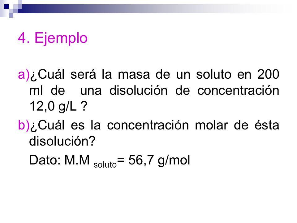 4. Ejemplo a)¿Cuál será la masa de un soluto en 200 ml de una disolución de concentración 12,0 g/L