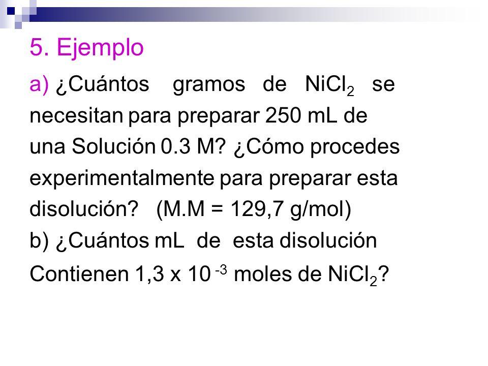 5. Ejemplo a) ¿Cuántos gramos de NiCl2 se