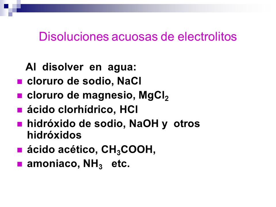Disoluciones acuosas de electrolitos