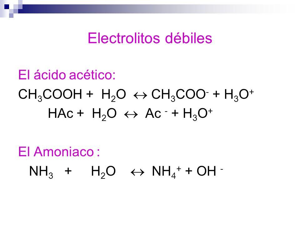 Electrolitos débiles El ácido acético: CH3COOH + H2O  CH3COO- + H3O+