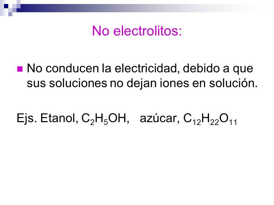 No electrolitos:No conducen la electricidad, debido a que sus soluciones no dejan iones en solución.