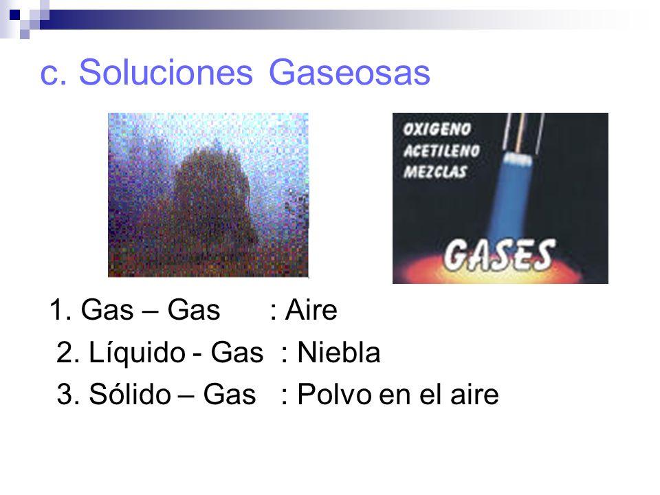 c. Soluciones Gaseosas 1. Gas – Gas : Aire 2. Líquido - Gas : Niebla
