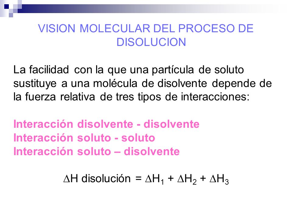 VISION MOLECULAR DEL PROCESO DE DISOLUCION
