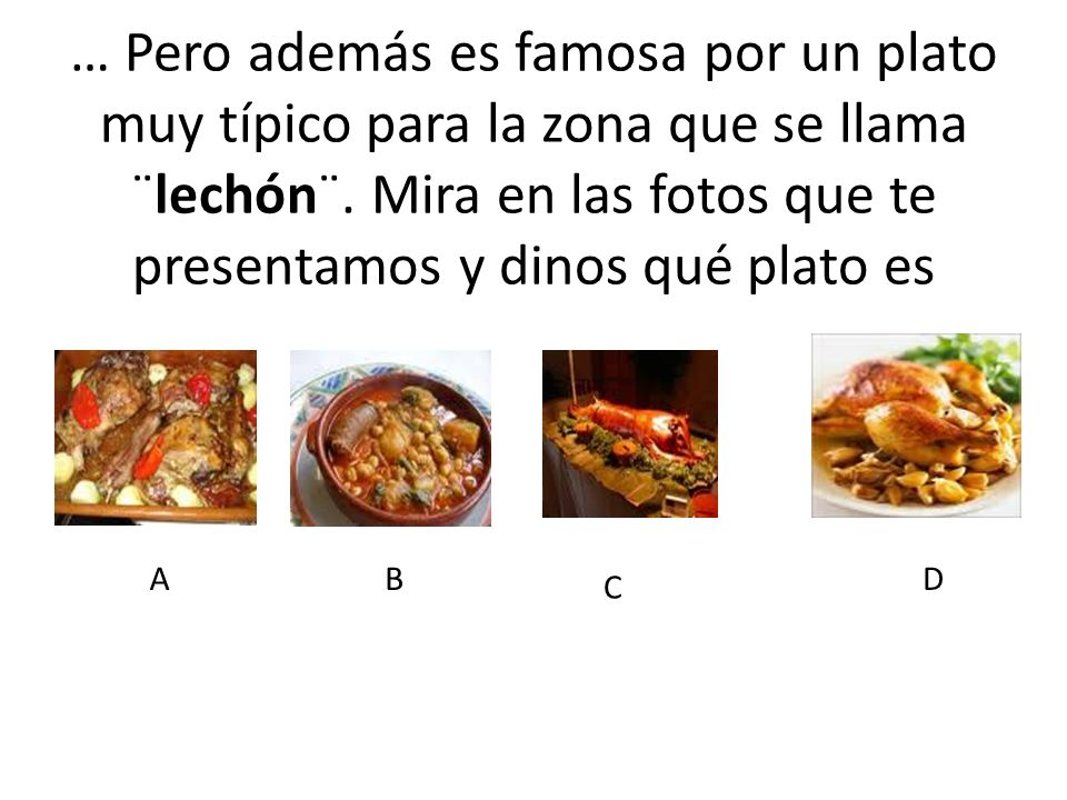 … Pero además es famosa por un plato muy típico para la zona que se llama ¨lechón¨. Mira en las fotos que te presentamos y dinos qué plato es