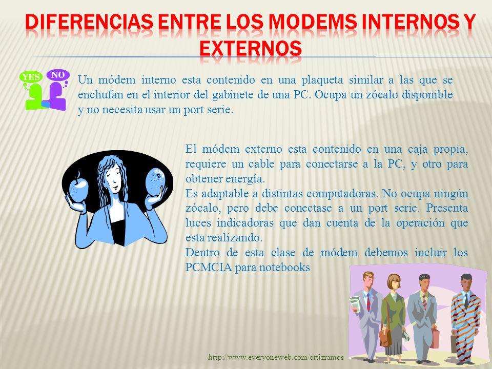 DIFERENCIAS ENTRE LOS MODEMS INTERNOS Y EXTERNOS