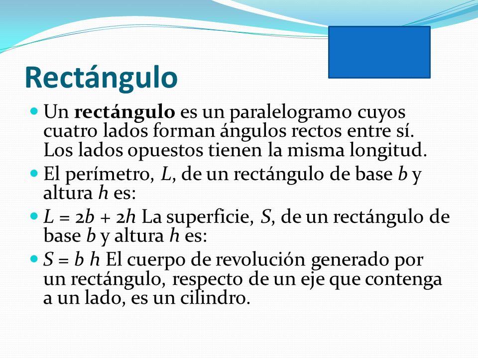 RectánguloUn rectángulo es un paralelogramo cuyos cuatro lados forman ángulos rectos entre sí. Los lados opuestos tienen la misma longitud.