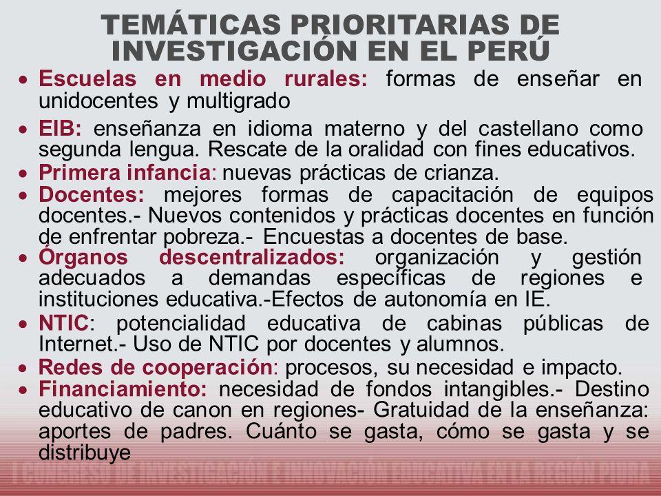 TEMÁTICAS PRIORITARIAS DE INVESTIGACIÓN EN EL PERÚ