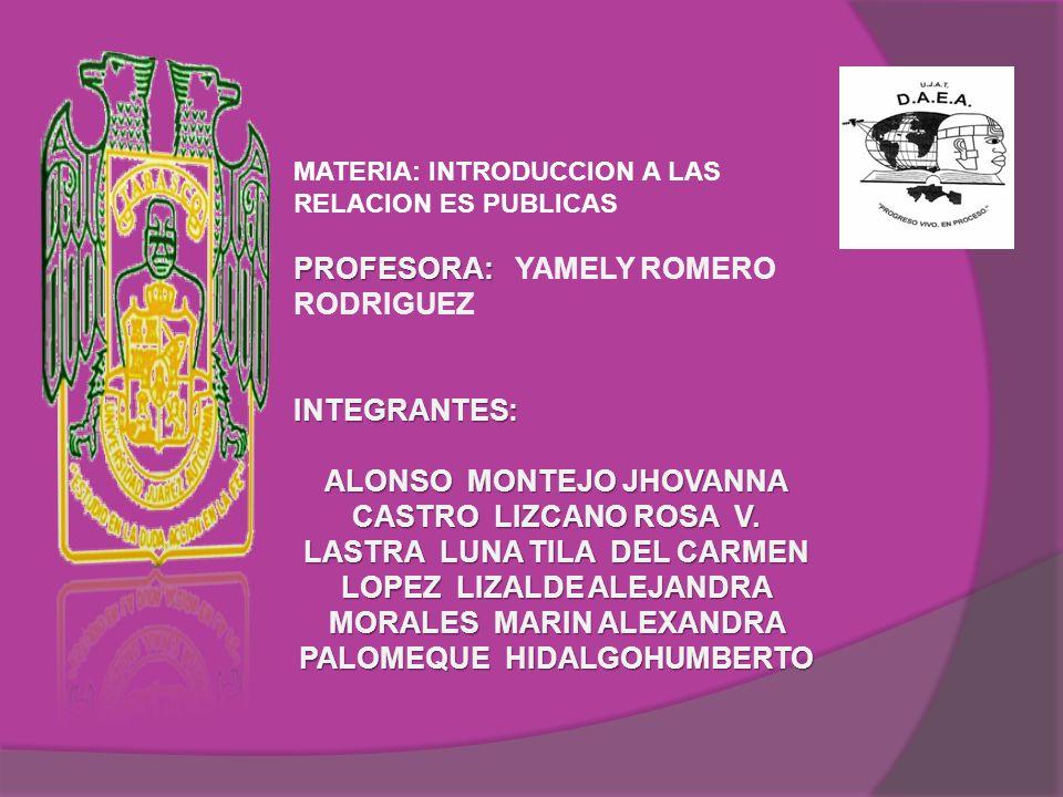 PROFESORA: YAMELY ROMERO RODRIGUEZ