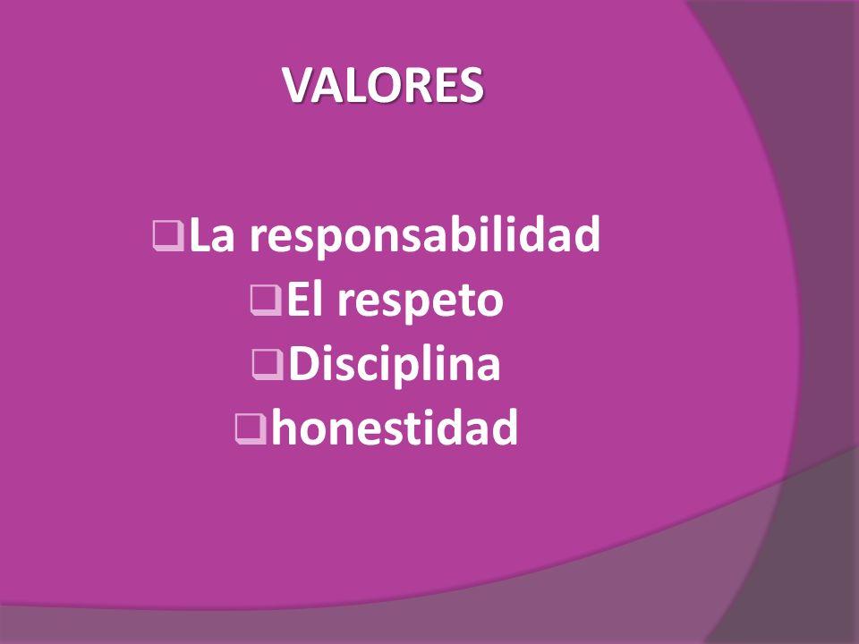 VALORES La responsabilidad El respeto Disciplina honestidad