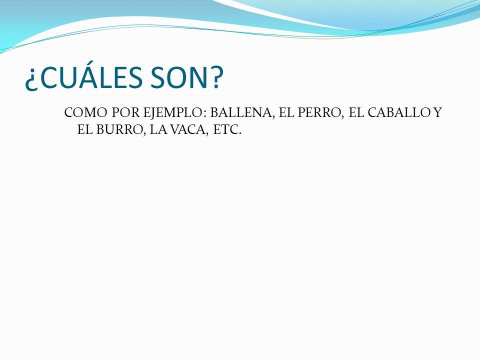 ¿CUÁLES SON COMO POR EJEMPLO: BALLENA, EL PERRO, EL CABALLO Y EL BURRO, LA VACA, ETC.