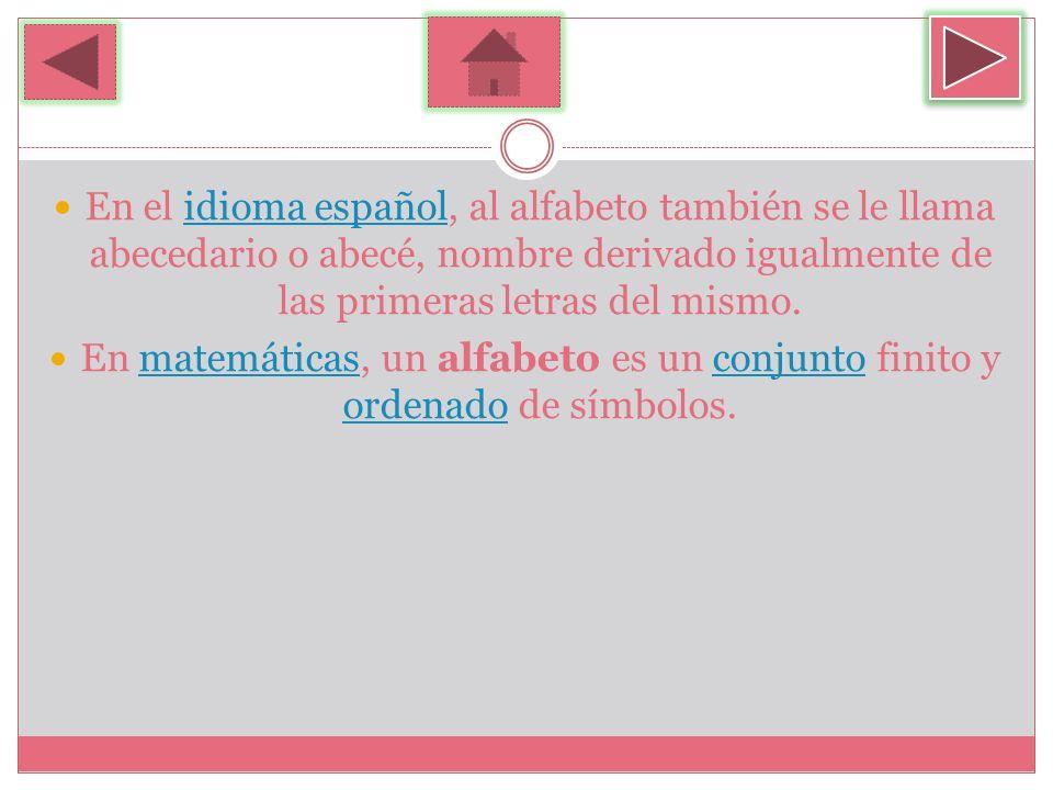 En el idioma español, al alfabeto también se le llama abecedario o abecé, nombre derivado igualmente de las primeras letras del mismo.