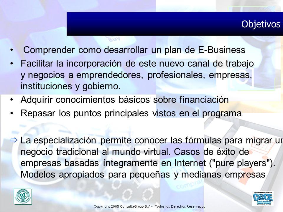 Objetivos Comprender como desarrollar un plan de E-Business.