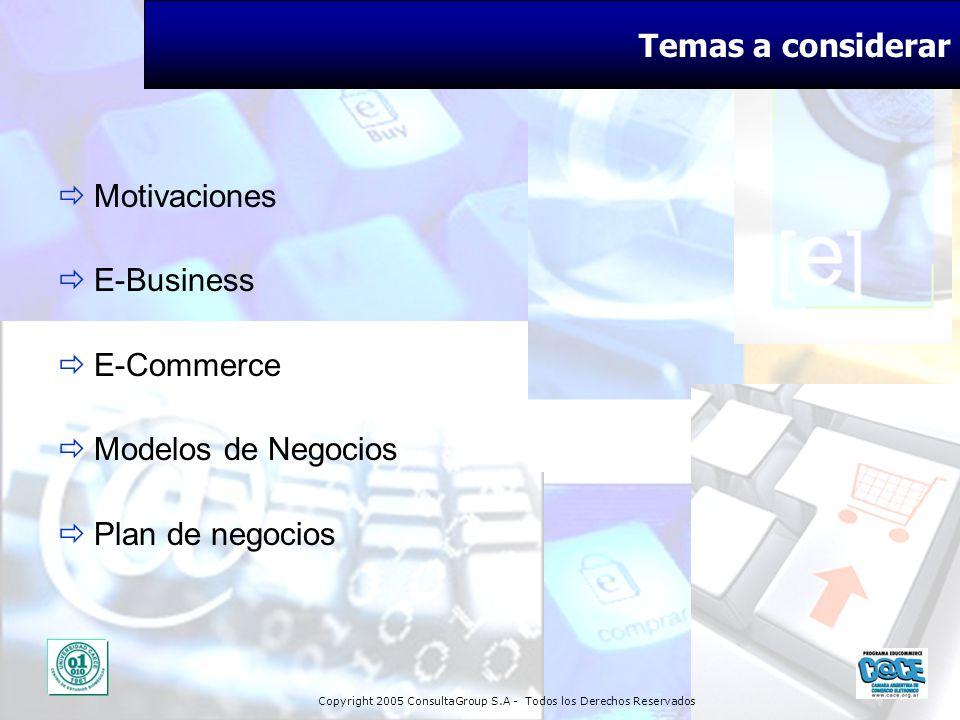 Temas a considerar Motivaciones E-Business E-Commerce Modelos de Negocios Plan de negocios