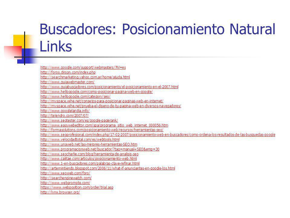 Buscadores: Posicionamiento Natural Links
