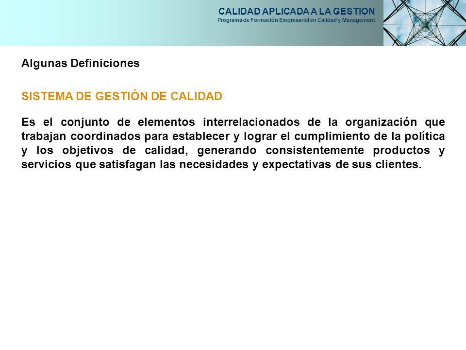 Algunas Definiciones SISTEMA DE GESTIÓN DE CALIDAD.