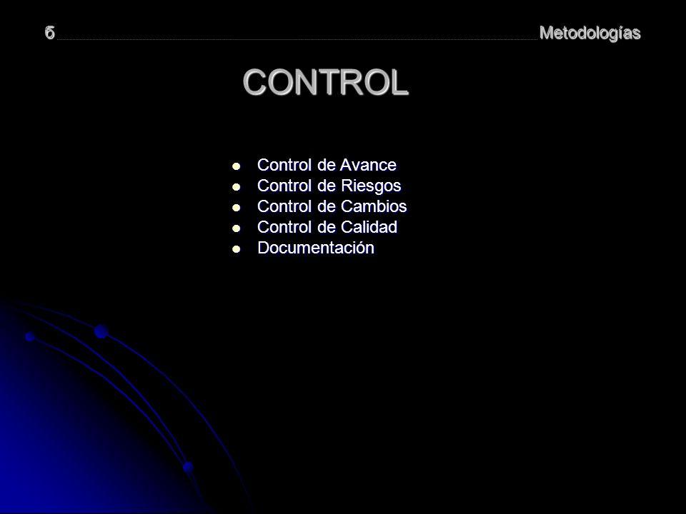 CONTROL б Metodologías Control de Avance Control de Riesgos