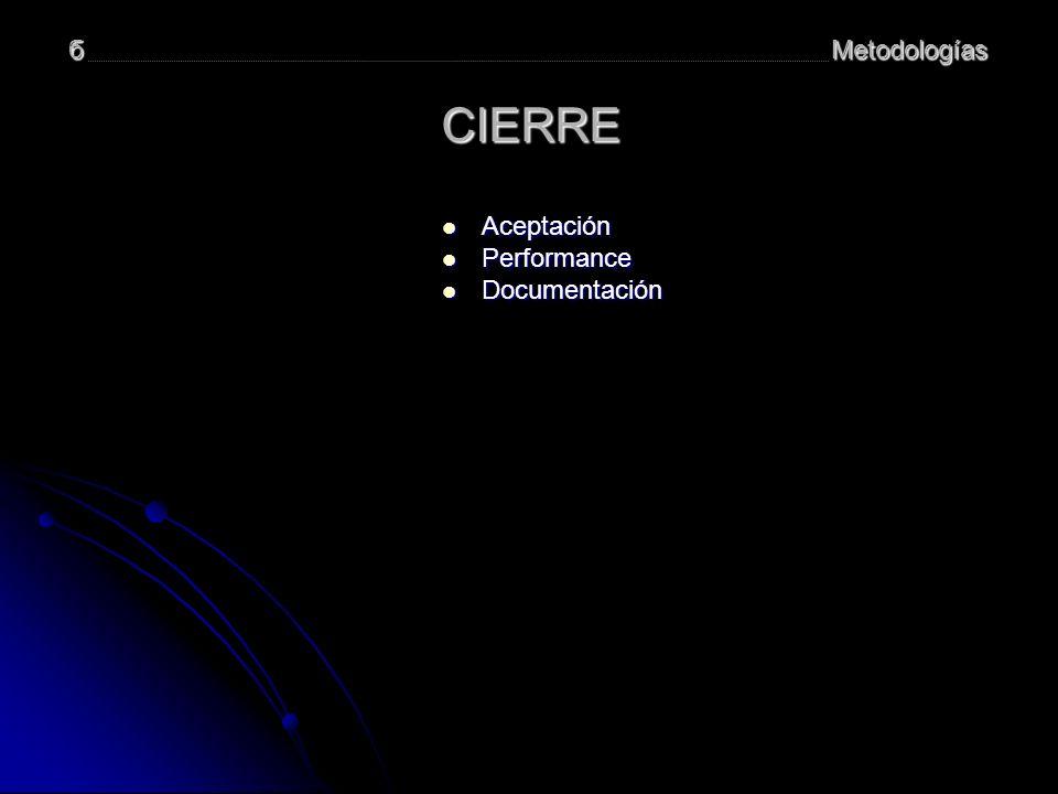 б Metodologías CIERRE Aceptación Performance Documentación