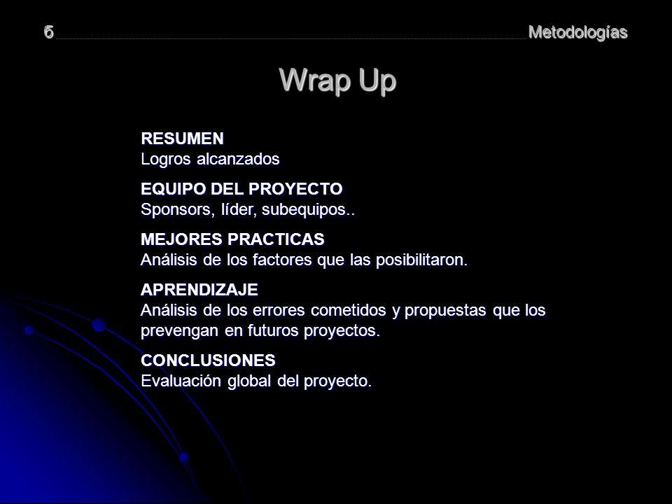 Wrap Up б Metodologías RESUMEN Logros alcanzados EQUIPO DEL PROYECTO