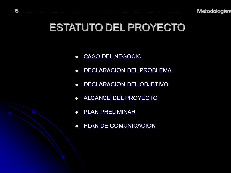 ESTATUTO DEL PROYECTO б Metodologías CASO DEL NEGOCIO